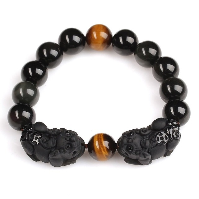 High Quality Natural Black Obsidian & Agate Carved Pixiu PiYao Lucky Beads Bracelets For Women Men Bracelet Jade Jewelry