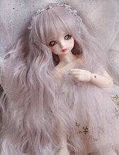 BJD perruque à frange dentelée mixte, perruque longue bouclée haute température, couleur rose argent, pour 1/3, 1/4, 1/6, 1/8