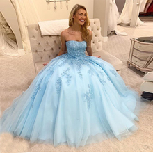 Hazy beauty Sky Blue Quinceanera Dresses Ball Gowns Length