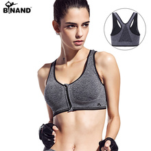 Binand de Course Yoga Sport Soutien-Gorge Fermeture Éclair Avant Rembourré Push Up Antichoc Wirefree Crop Top Professionnel Gym Fitness Nageur Gilet