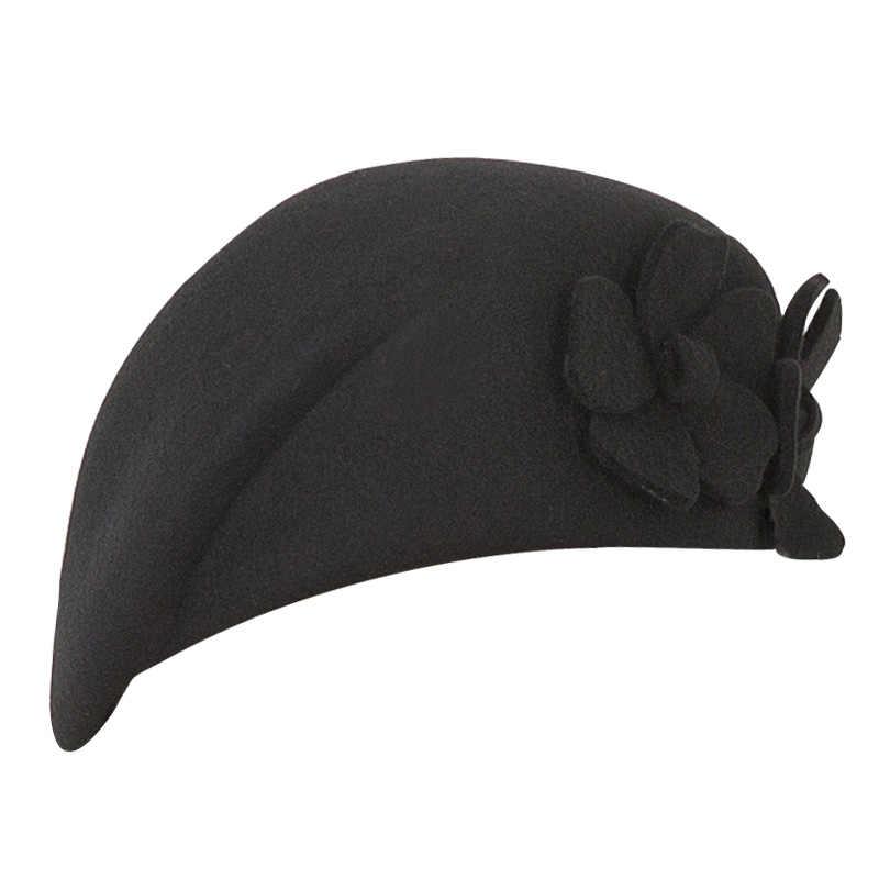 FS элегантные женские 100% шерсть цветок черная шляпа винтажное платье в английском стиле зимние женские фетровые Французский Берет шляпы Bone Feminino