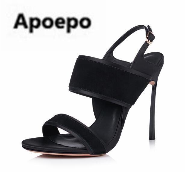 Apoepo 2018 newest summer sandals women black beige shoes suede sandalia feminina sexy high heels shoes women sandalia rasteira