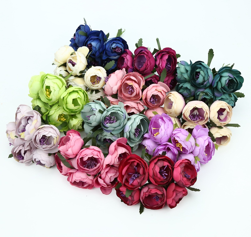 6pcs Christmas decor for home decorative flowers wreaths silk roses DIY gifts candy box new Year scrapbooking artificial plants