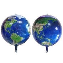 Balões de alumínio de 22 polegadas 4d, balão do dia da terra com mapa mundi, decoração de festa de aniversário, bola verde, 1 peça decoração do balão das crianças