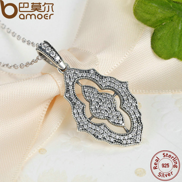 Sterling Silver Sparkling Lace Pendant Necklace