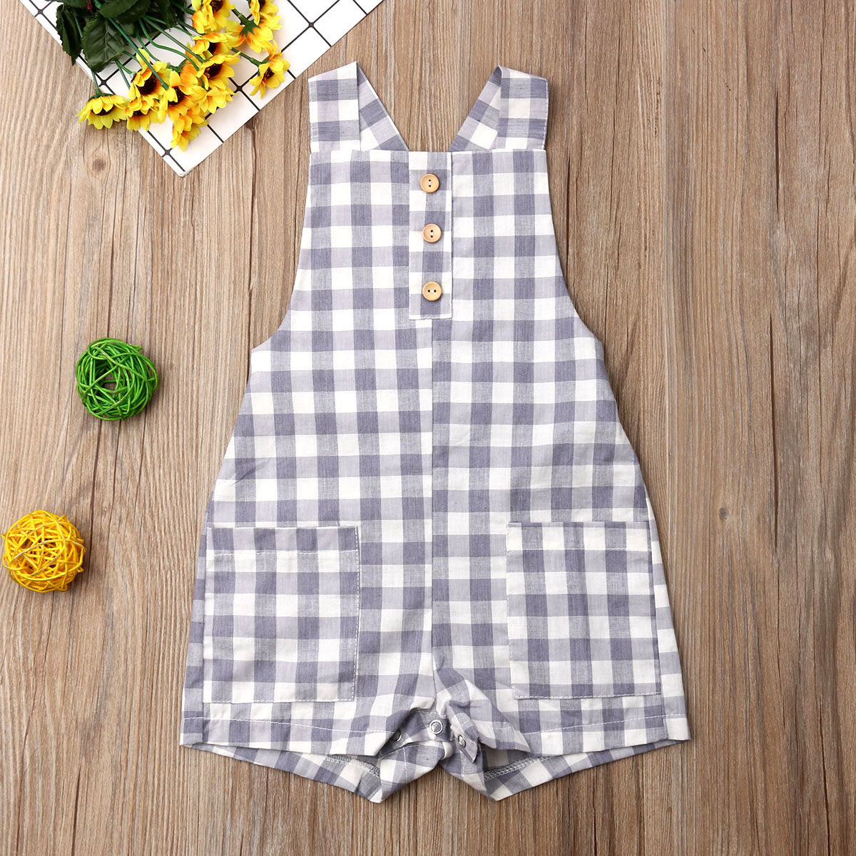 Pudcoco Newborn Baby Boy Girl   Romper   Sleeveless Plaids Strap   Romper   Jumpsuit Outfits Sunsuit Clothes