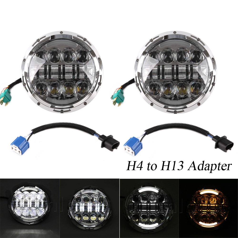 2pc 7 inch 80W Round LED Headlights Kit with Angel Eye DRL/Amber Turn Signal Lights for Jeep Wrangler JK CJ LJ 7inch headlight 7 inch 80w round led headlights high