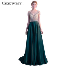 CEEWHY Green Long Evening Dress Beaded Gown Evening Luxury Crystal Prom  Dresses V-neck Formal Dresses Kaftan Abendkleider a2f07a1b7482