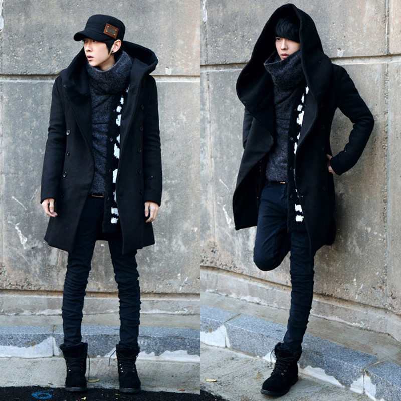 LUWISTON MarKyi winter trench coat men double button hoody long trench coat