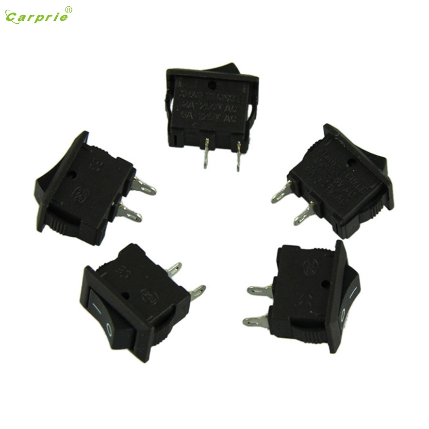 CARPRIE 5 x AC 250V 3A 2 Pin ON/OFF I/O SPST Snap in Mini Boat Rocker Switch DS7113 drop ship 5pcs black push button mini switch 6a 10a 250v kcd1 101 2pin snap in on off rocker switch 21 15mm