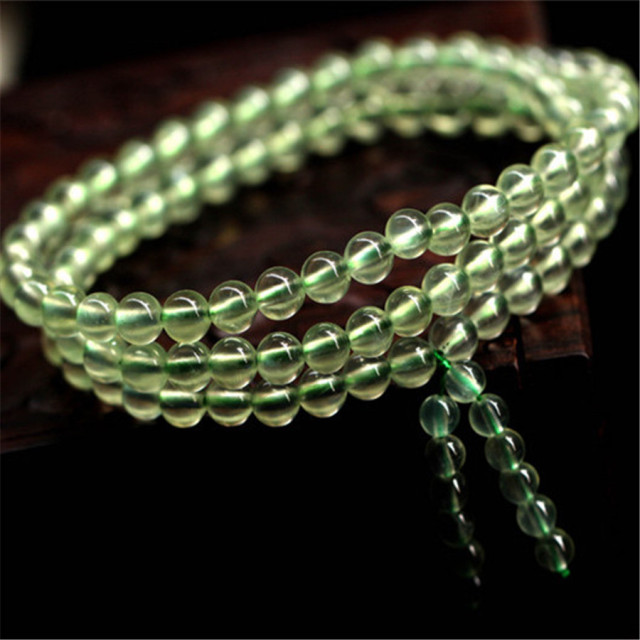 5.5mm Natural Green Quartz Bracelets For Women Femme Charm 108 Crystal Round Beads DIY Bracelet Christmas Gift Crystal Bracelet