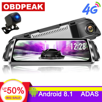 10 Stream Media android mirror Car Rearview Mirror Dash Cam FHD 1080P Super night vision Touch DVR Camera with ADAS GPS NAVI