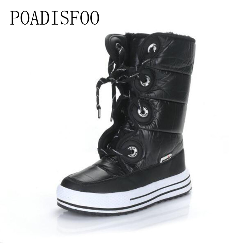 POADISFOO 2018 Women's Show Boots Platform Thick Heels Casual Shoes Knee high Show boots JSH-M902