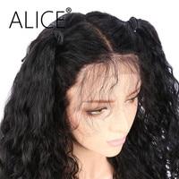 ALICE Deep Wave Full Lace Human Hair Wigs For Black Women Brazilian Virgin Hair Natural Black