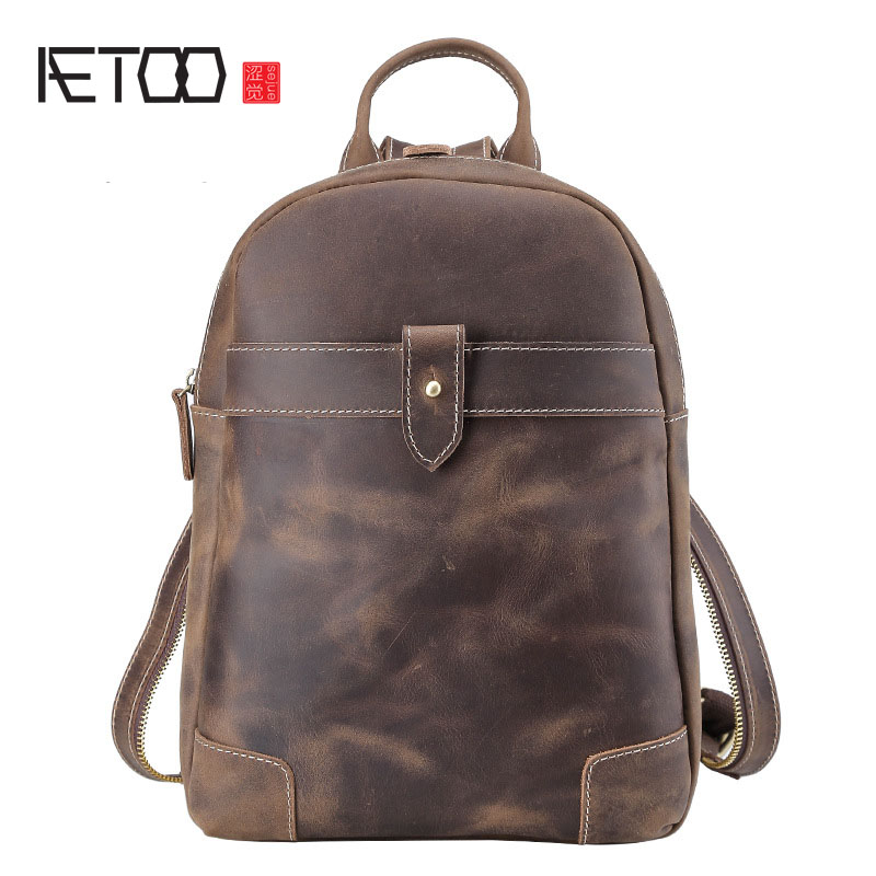 AETOO Multi-functional mad horse leather men and women shoulder bag breasts dual-use British retro shoulder diagonal cross aetoo oil wax leather leather europe and america retro men s 8 inch summer travel simple shoulder diagonal package