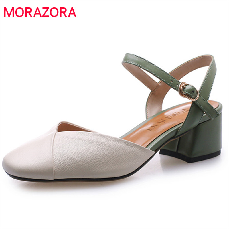 MORAZORA 2019 new arrival women sandals genuine leather summer shoes buckle square toe fashion dress shoes ladies office shoes