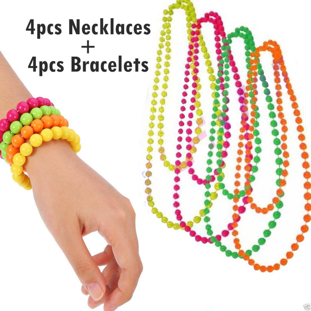 Long Plastic Neon Beads Necklace Costume Accessories 1980s Rave Fancy Dress