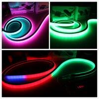 50 м 24 В динамический светодио дный пиксель flex Неоновый свет площадь Топвью 18x18 мм Программируемый rgb neon Гибкие полосы 5050 SMD DMX наружная лента