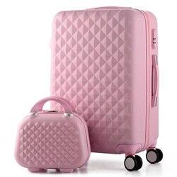 14 + 20 Polegada, mulher caso de viagem malas, diamante bagagem mala de viagem, abs bagagem de viagem, rolando bagagem, mala sobre rodas