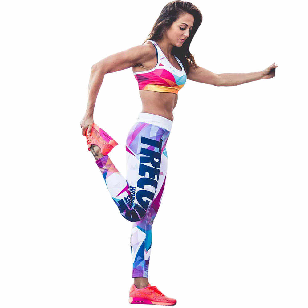 Pantalon Olahraga Femme Legging Kebugaran Feminina Academia Surat Dicetak Celana Olahraga Yoga Celana Seksi Push Up Pakaian Gym Elastis # Yl