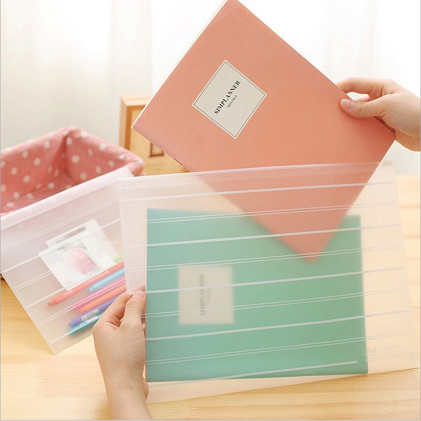 Matte Style Transparent A4 A5 File Bag Striped Document Bag A4 File Folder Pull Side Pouch Stationery Filing Production