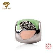 Zhaoru Authentic 925 Sterling Silver Enamal Pendant Charm Fit Bracelet & Bangle Necklace DIY Fine Jewelry Heart Bead