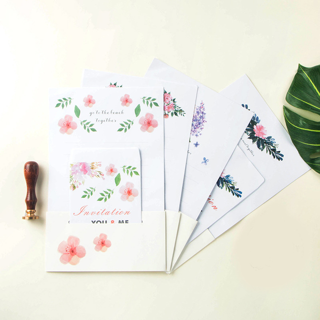 New Arrival 12 Sets Letter Pad  Paper 4 style flower invitation