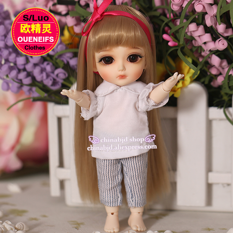 BJD Clothes 1/8 Doll Body ChiffonT-shirt And Striped Trousers All-match Leisure For The Lati Yellow YF8-13 Doll Accessories