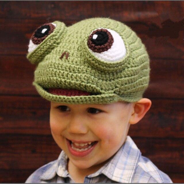 novelty children winter hats handmade crochet lovely kids frog hat gorro funny halloween christmas costume birthday