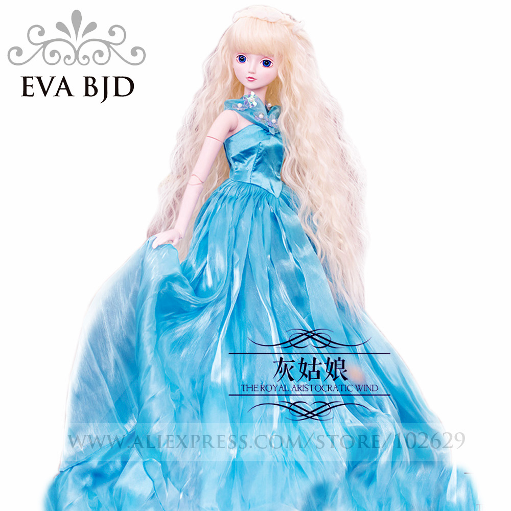 ФОТО 1/3 bjd doll 60cm 19 jointed dolls cinderella girl doll toy ( free eyes + hair + makeup + clothes + shoes )  eva da001-28