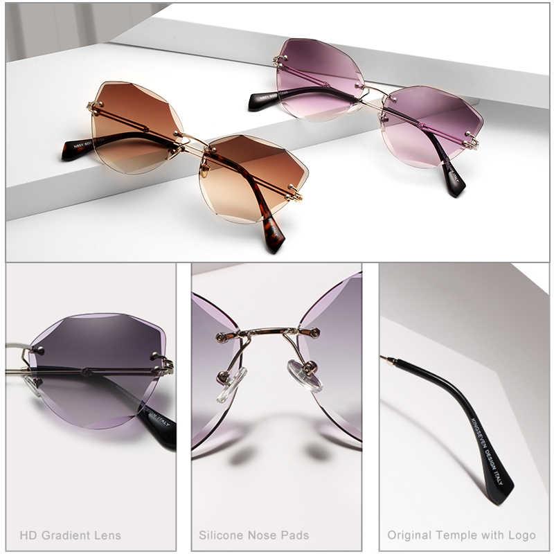 cbc3c7879e ... KINGSEVEN Design Rimless Fashion Cat Eye Sunglasses Women Gradient  Driving UV400 Sun Glasses Clear Vintage Eyewear ...