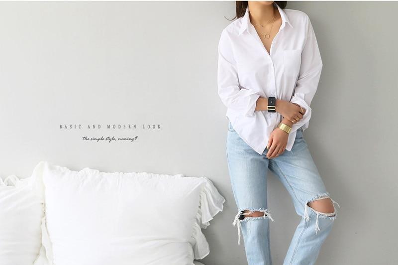 Spring One Pocket Women White Shirt Female Blouse Tops Long Sleeve 17