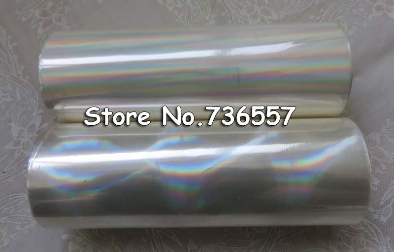 2 rolls Holographic foil plain oblique rainbow transparent foil hot stamping on paper or plastic 16cm