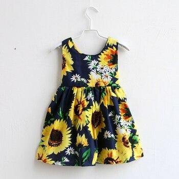 Summer children sunflower print sleeveless cotton family clothes kids infant girls beach dress mother daughter matching dresses