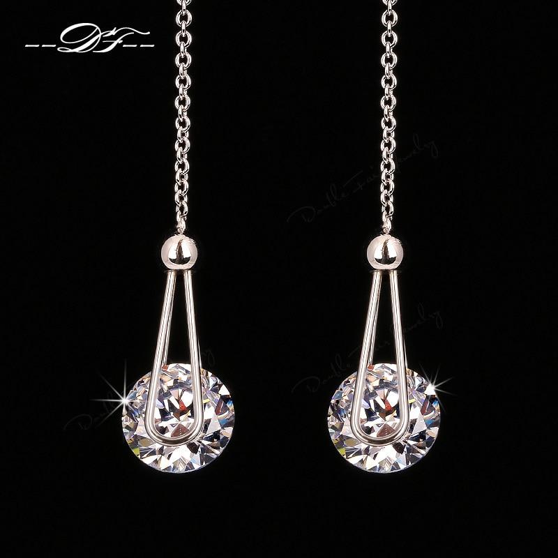 a2d4984d2785b US $1.78 35% OFF|Double Fair 2 Carat AAA+Cubic Zirconia Drop/Dangle Line  Earrings Silver/Rose Gold Color Long Chain Ear Jewelry For Women DFE684-in  ...