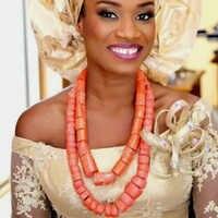 4 UJewelry Afrikanische Schmuck Natur Korallen Nigerian Edo Traditionellen Hochzeiten Braut Schmuck Set 2 Reihen 12-20mm halskette Set
