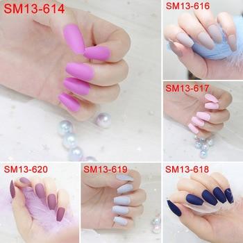 24 Pcs/Set Matte False Nails Full Tips Women Fake Fingernails Nail Art Decoration Tool HS11 artificial nails