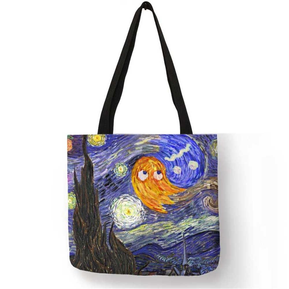 Único padrão de alta moda bolsa em mulheres totes fantasia céu noturno famosa pintura eco linho casual trabalho sacos ombro