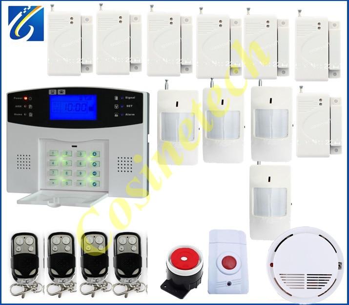Shenzhen GSM850/900/1800/1900Mhz home security alarm sysem+4 door sensor+7 PIR sensor,1 smoke sensor gsm alarm system,fire alarm