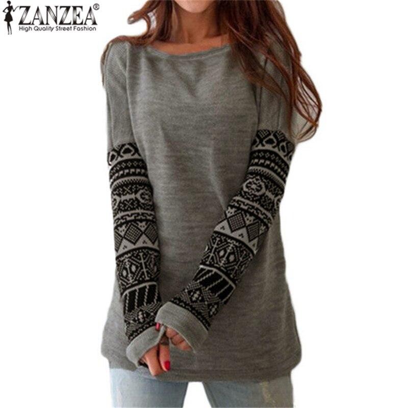 db42450b87e Zanzea New Autumn Women Tee Shirt O Neck Contrast Color Printed Long Sleeve  T-Shirts