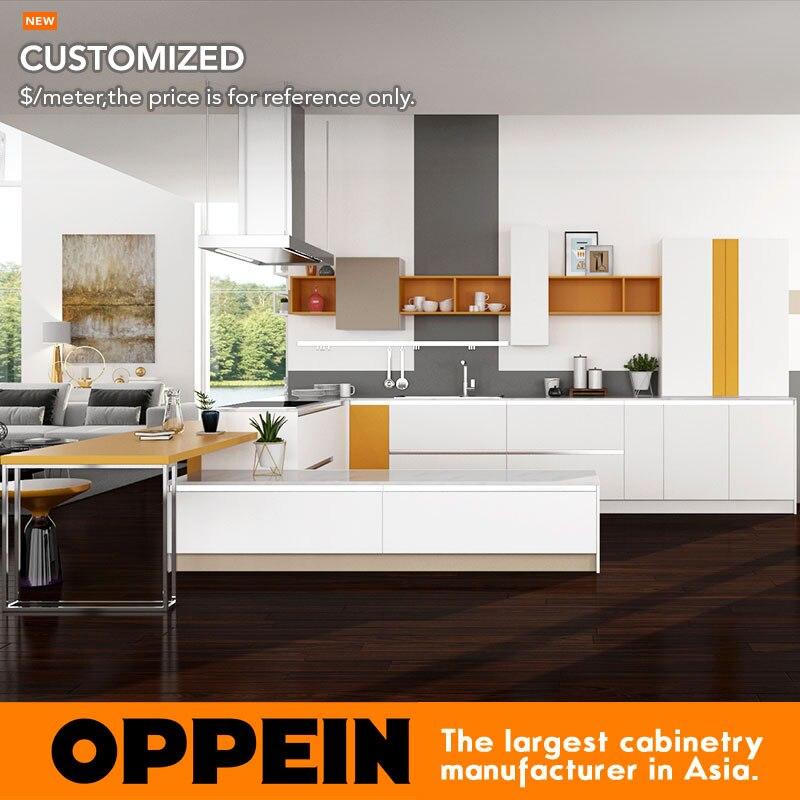 kitchen furniture modern white pvc and orange melamine kitchen cabinet op16 pvc03china. beautiful ideas. Home Design Ideas