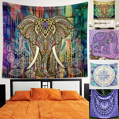 Home Wall Decor Bohemian Style Elephant Colorful Mural Tapestry Rug Beach Towel In Tapestry From