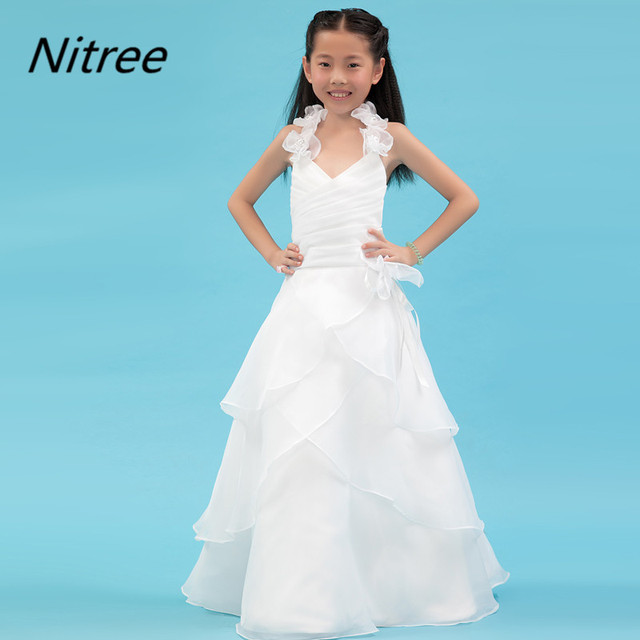 Ivory A Line Organza Flower Girl Dresses with Handmade Flowers ...