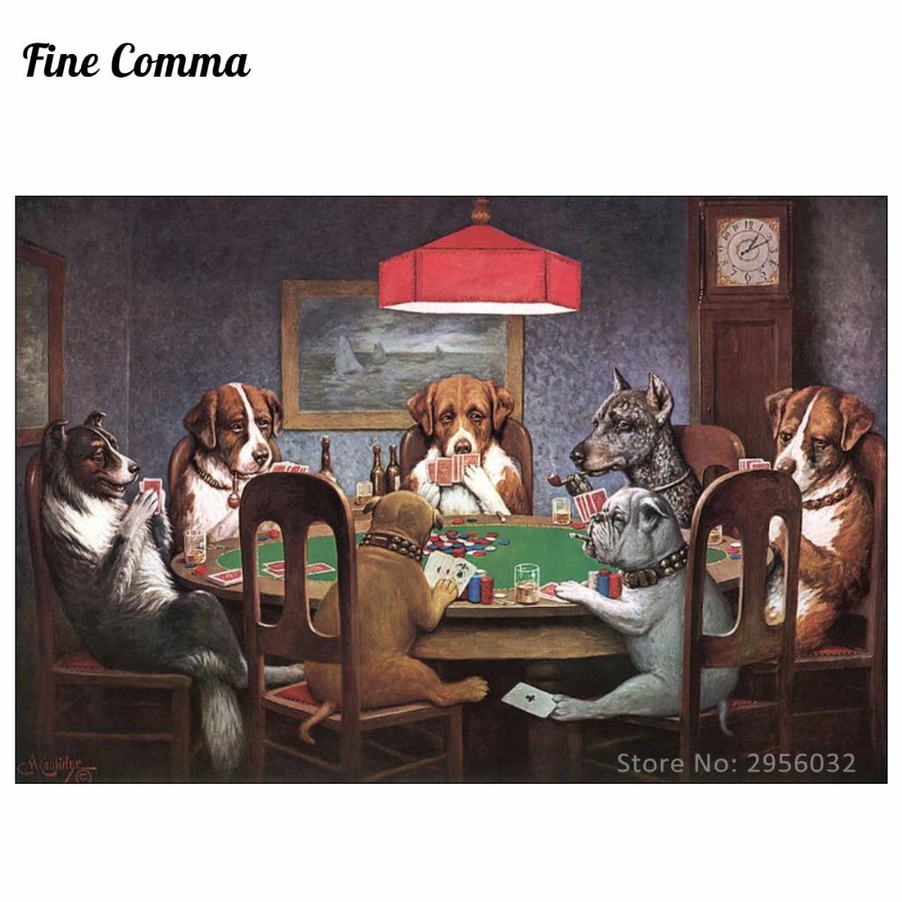 Пријатељ потребним псима који играју покер од Цассиус Марцеллус Цоолидге Ручно осликана Слика на платну Репродукција Реплика Зид Арт Цанвас