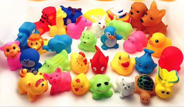 Bath Toys For Children, 13pcs Lovely Mixed Animals Colourful Soft Rubber Float Squeeze Squeaky Sound Bath Toy For Baby Free Shipping