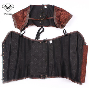 Image 5 - Corsets and Bustiers Slimming Steampunk Corset Gothic Brown Corsages Sexy  PU Leather Buckle Belly Slimming Sheath S 6XL