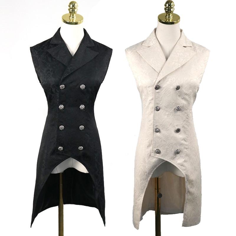 New Mens Steampunk Double Breasted Vest Waistcoat Gothic Top Brocade Aristocrat Elegant Vest Jacket Sleeveless V neck Vest Coats