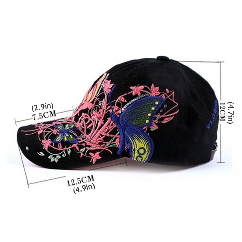 AKIZON Baseball Cap For Women With Butterflies And Flowers Embroidery  Adjustable 17b36d8d65d5