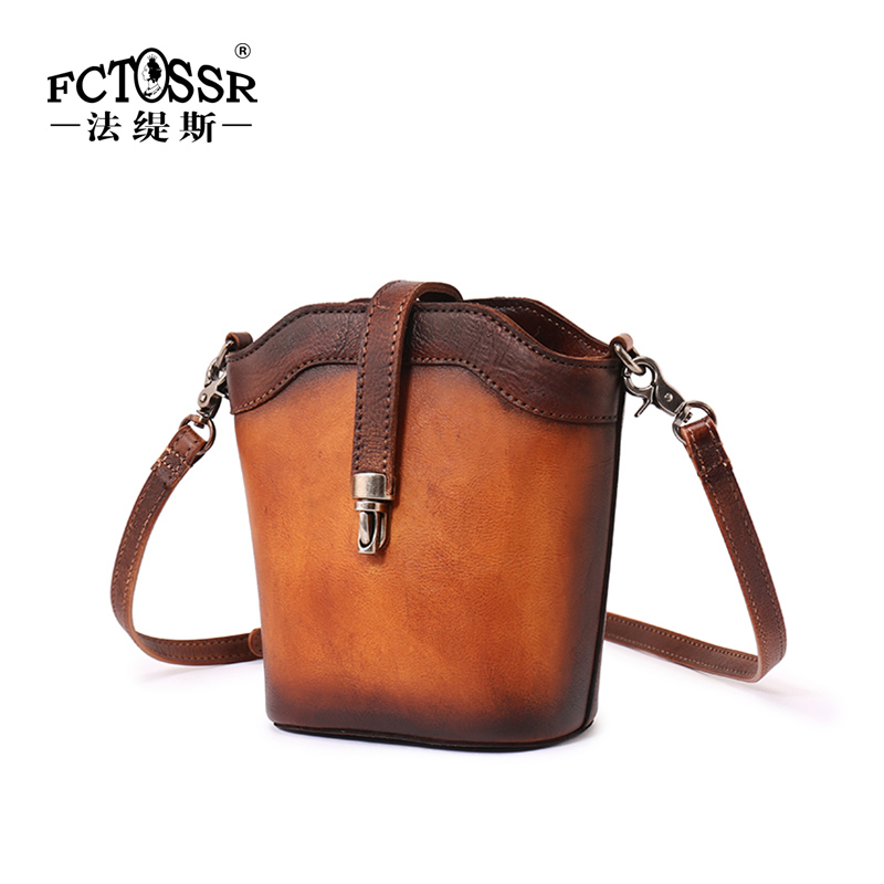 Vintage Cow Leather Womens Bag  Original Handmade Leather Bucket Cross-Body  Bag Simple Small Shoulder BagVintage Cow Leather Womens Bag  Original Handmade Leather Bucket Cross-Body  Bag Simple Small Shoulder Bag