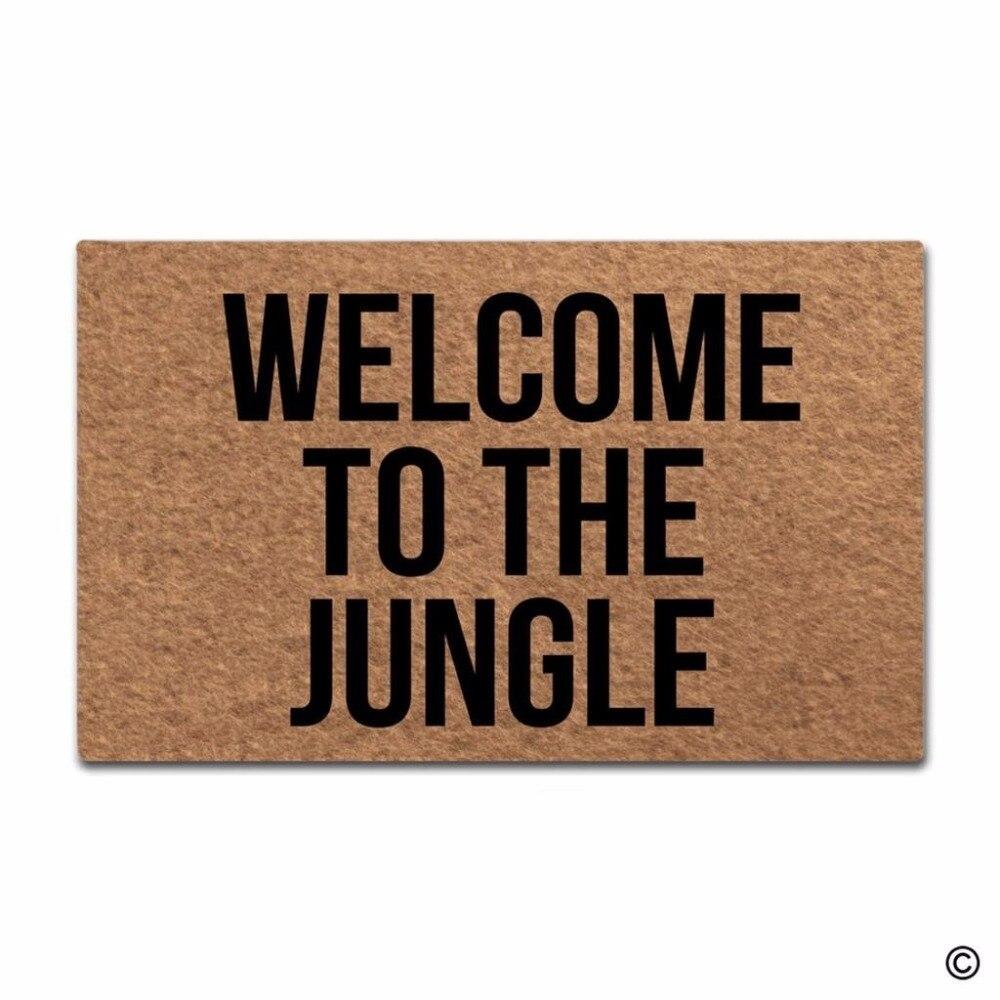 Felpudo para puerta, Felpudo de entrada para suelo, felpudo divertido para interiores y exteriores con diseño de jungla, Felpudo de tela no tejida de 23,6